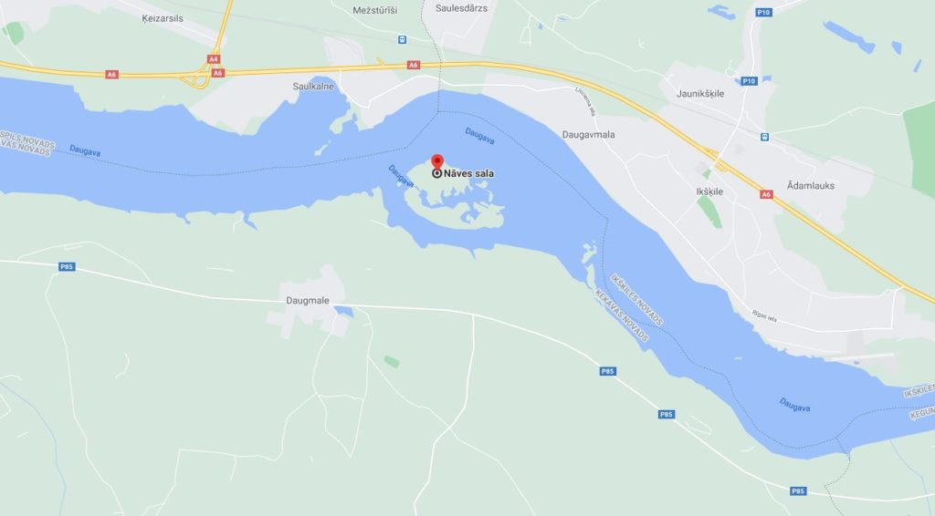 Nāves sala, Ķekavas novads, Daugmales pagasts. Ekrāntvērums no Google maps